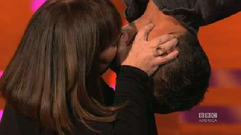 Dawn French and Bear Grylls Kiss 'Spider-Man'-Style